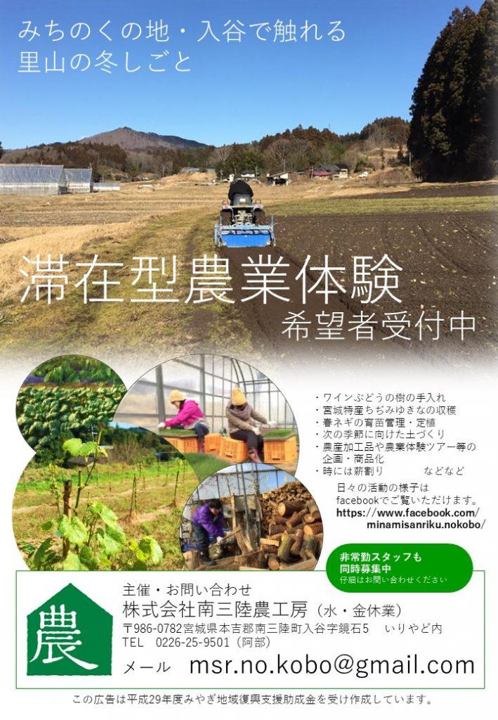 滞在型農業体験チラシ